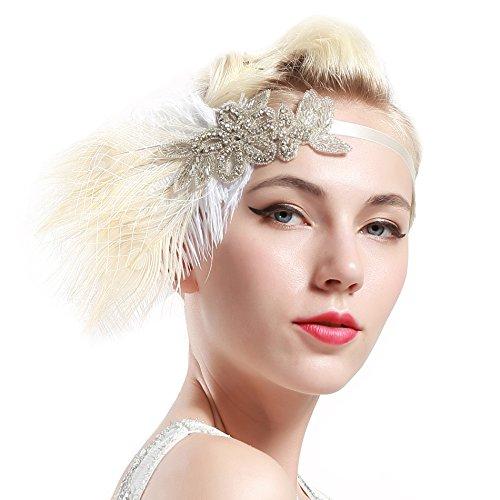 Babeyond Damen Stirnband Flapper 1920s Stil Stirnband mit weisser Pfau Feder Inspiriert von Der Große Gatsby Party Accessoires für Damen Einheitsgröße - 3