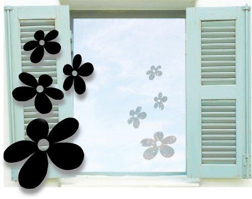 fenstertattoo blumen MIX SET 4x Fenstertattoo selbstklebende ~ Hawaii Blumen, Blümchen ~ Hibiskus Flower3 glas067 Aufkleber für Fenster, Glastür und Duschtür, Badezimmer Glasdekor Fensterbild, wasserfeste Glasdekorfolie in Sandstrahl - Milchglas Optik