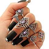 wicemoon 7pcs Retro morado juego de anillos de cristal hembra calado diamante anillo Set combinación