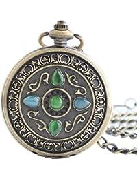 Maybesky Reloj de Bolsillo mecánico Exquisito Crystal Roman Numberal Reloj de Bolsillo Boutique Clamshell con Cadena Caja de Regalo para cumpleaños Aniversario día Nav