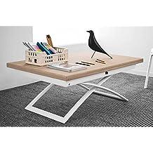 CALLIGARIS Table basse relevable extensible italienne MAGIC J en bois naturel et piétement en acier laqué blanc