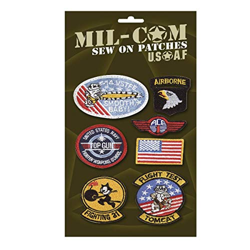 Top Flight Gun Kostüm - Pack of Airforce Sew on Cloth Badges Military Patches on Card by Top Gun