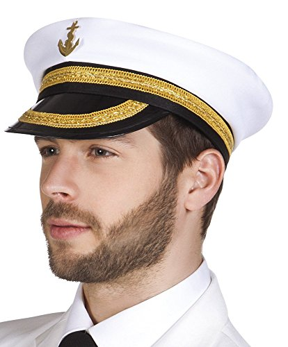 Image of Fancy Dress Party Sailor Captain Nicholas White Naval Hat For Men And Adults