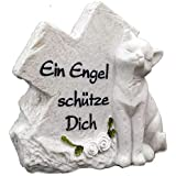 Grabstein Grabschmuck Katze mit Schriftzug Ein Engel schütze Dich