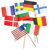IMS Party 301012 - Palillos para aperitivos (68 mm, 250 unidades), diseño de banderas de países