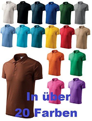 Herren Polohemd / Poloshirts Pique Polo klassisches Polohemd anthrazit melliert
