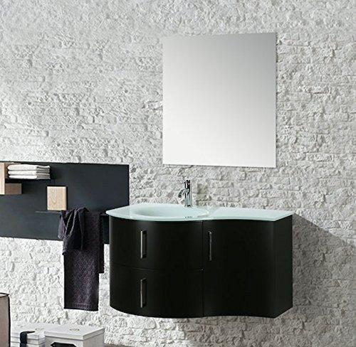 Mobile arredo bagno kursal 104 cm sospeso nero sinistro moderno