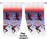 Unbekannt 2 Stück _ Vorhänge / FERTIG - Gardinen aus Chiffon -  Ultimate Spider-Man  - je 140 * 240 cm lang - transparent Organza / Voile - für Fenster & Türen / Fert..