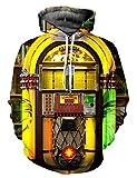 Minetom Damen Herren Mode 3D Digital Bedruckte Kapuzenpullover Unisex Lange Ärmel Pullover Sweatshirt Hoodies Tops Jukebox M
