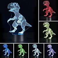 Pejoye 3D Illusion Light Night Dinosaur Lamp 7 Colors Touch Control 3 AA Batteries or USB Powered Nice Dinosaur Picture Acrylic Panel ABS Base for Table Night Decoration