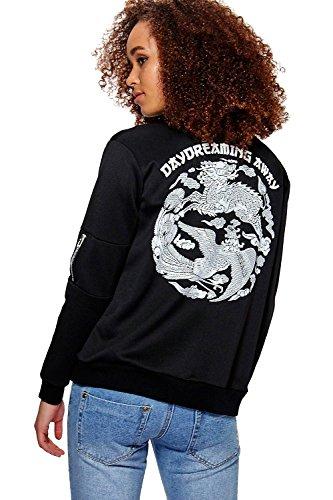 Schwarz Damen Jasmine Japanese Embroidered Bomber Schwarz