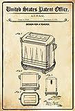 Schatzmix United States Patent Office - Design for A Toaster - Entwurf für EIN Toaster - Fukal, 1936 - Design No 98.247 - Metal Sign Blech Garten deko Schild