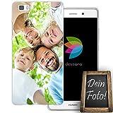 dessana Eigenes Foto Transparente Silikon TPU Schutzhülle 0,7mm Dünne Handy Tasche Soft Case für Huawei P8 Lite Personalisiert Motiv