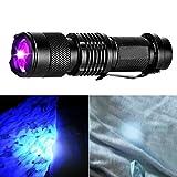 Torcia LED Elettrica Outdoor Portatile Ricaricabili - Huhuswwbin Torcia A LED Ultravioletta UV Zoomable 3 Modalità Torcia Lampada A Luce Nera