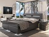 SAM® LED-Boxspringbett 180x200 cm, Austin, Kunstleder grau, Bonellfederkern-Matratze H3, LED-Beleuchtung an Füßen & Kopfteil