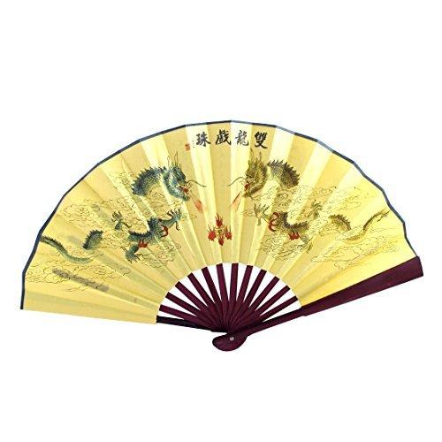 Bamboe handvat Dragon Chinese Gedicht Print vouwen de hand ventilator 47cm geel