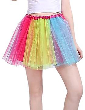 InnoBase Tutu Falda de mujer falda de tul 50's Short Ballet 3 capas Accesorios de vestimenta de baile para mujeres...