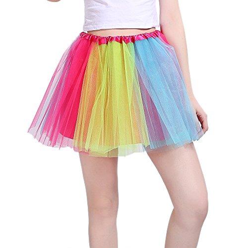 InnoBase Tutu Falda de Mujer Falda de Tul 50's Short Ballet 3 Capas Accesorios...
