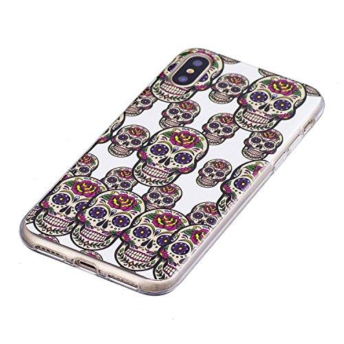 Custodia iPhone X Cover Silicone , YIGA Testa del cranio Moda Nottilucenti Luminoso Trasparente Silicone Morbido TPU Case Custodia per Apple iPhone X (5.8) YG-XS79