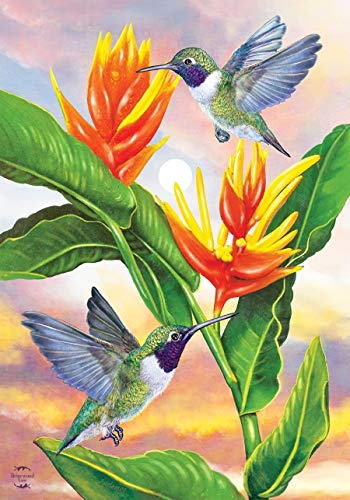ASKYE Black Chinned Hummingbird Spring House Flag Floral for Party Outdoor Home Decor(Size: 12.5inch W X 18 inch H) -