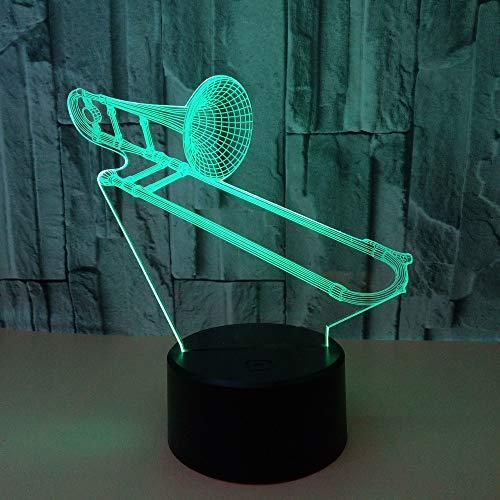 LED Deko Lampe Musikinstrument Posaune 3D Night Lamp Für wohnzimmer büro schlafzimmer nachttisch dekoration, 7 farbwechsel mit fernbedienung USB kabel