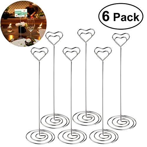 SUPVOX 6pcs Memohalter Tischkartenhalter Herzform Hochzeit Party Clips (Silber) -