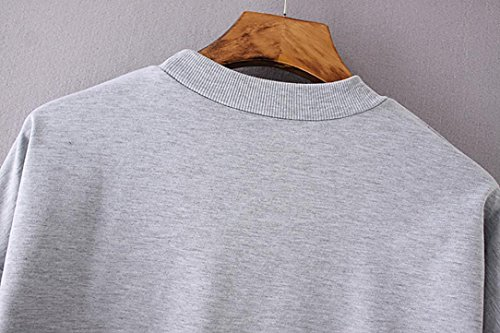 Sweat-shirts Femme Mesdames Lettre Imprimer manches longues Sweatshirt en vrac Pull Blouse Top Shirt Gris-05