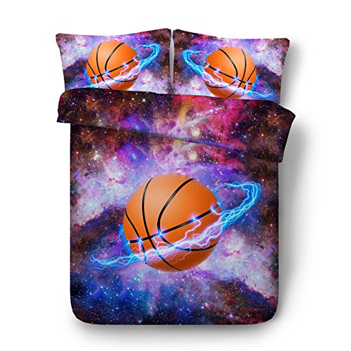 LifeisPerfect JF-557 Cool Basketball und Galaxy Bett Set 4 Stk 3D Sport Bettwäsche für Teens Jungen Senioren Voller Königin König Bettbezug Setzt Kinder