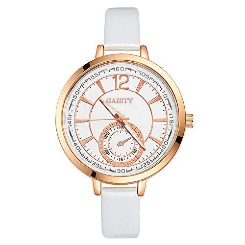 Damen Wählen Armbanduhr Lederarmband Damenuhr Analog Quartz Uhr Weiß