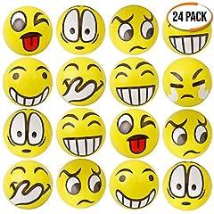 Idea Regalo - 24 palline antistress con faccina emoji. per alleviare lo stress, allenare le dita. Regalino per le borse da festa, premi, regali di compleanno, bomboniere, regalini fine bambini piccolo giocattolo.