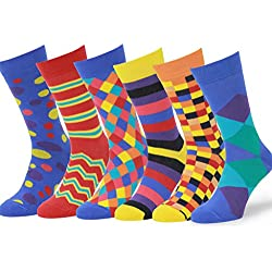 Easton Marlowe 6 PR Calcetines Estampados Hombre - 6pk #4, mixed - bright colors, 43-46 EU shoe size