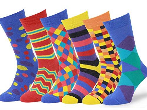 Easton Marlowe 6 Paar Bunt Gemusterte Herren Socken - 6pk 4, gemischt - helle Farben, 39-42 EU Schuhgröße -