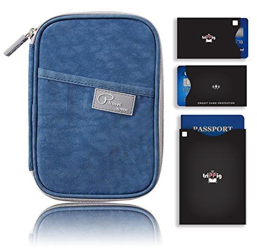 Passaporto Portafoglio/borsa da viaggio frizione/Card Cash Organizer passaporto/porta documenti con Hand Strap (Oxford Navy + RFID Stop) Nylon Blue