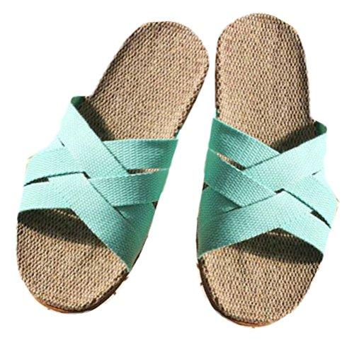 Nanxson(TM) Damen Herren Sommer Rutschfeste Criss Cross Hausschuhe Pantoffel TX0028 Blau