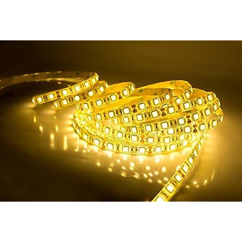 Quntis® Tira LED Luz Exterior Blanco Cálido 5m SMD 5050 Impermeable de Alta Densidad en Kit Completo - 300 LEDs Cortable - Fuente de Alimentación (12V 6A) IP65 Enchufe de UE [Clase de eficiencia energética A+++] para Balcón/ Terraza/ Escala/ Jardín/ Navidad/ Año Nuevo etc.