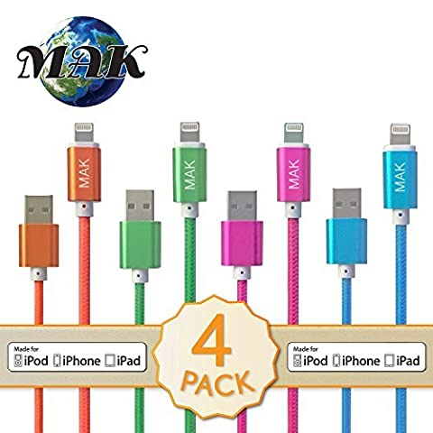 MAK POWER 4 pack mixed colors Strong Nylon Braided USB Cable 1 Meter Aluminium Connectors Charger Data Sync Wire for iPhone 6 6s, 6 6s Plus, 5 5c 5S, iPad