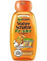 GARNIER Wahre Schätze Shampoo für Kinder / mildes Kinder-Shampoo für leicht kämmbares Haar (mit Aprikose & Baumwollblüte - ohne Parabene - ohne Farbstoffe - ohne Silikone) 3 x 250ml