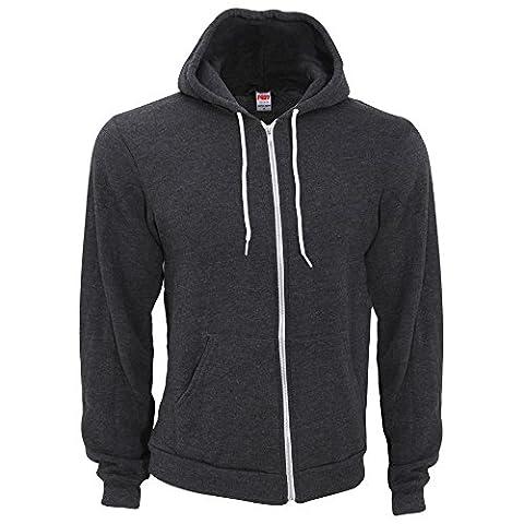 American Apparel - Sweatshirt à capuche et fermeture zippée - Homme (L) (Gris foncé)