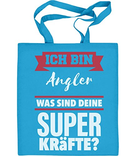 Geschenke für Angler -Ich bin Angler Was sind deine Superkräfte? Jutebeutel Baumwolltasche Hellblau