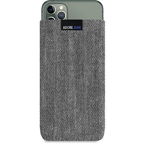 Adore June Business Tasche kompatibel mit Apple iPhone 11 Pro Max Handytasche aus charakteristischem Fischgrat Stoff - Grau/Schwarz, Schutztasche Zubehör mit Display Reinigungs-Effekt