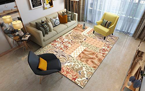 Traditioneller Klassiker Nationaler Stil Wohnzimmer Teppich Winter Isolierung S - XXXL Modern Mehrzweck Bodenmatte,Orange,160x230cm
