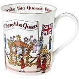 Alison Gardiner - Taza de desayuno de porcelana con ilustración de Isabel II, color blanco