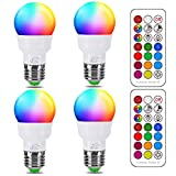 iLC Glühbirne mit Fernbedienung, Äquivalent 40W, Farbwechsel Farbige Leuchtmittel LED Lampe Edison Dimmbare Farbige Leuchtmitte 2700K Warmweiß Lampen 5W E27 RGB LED Birnen - 12 Farben - (4-er Pack)