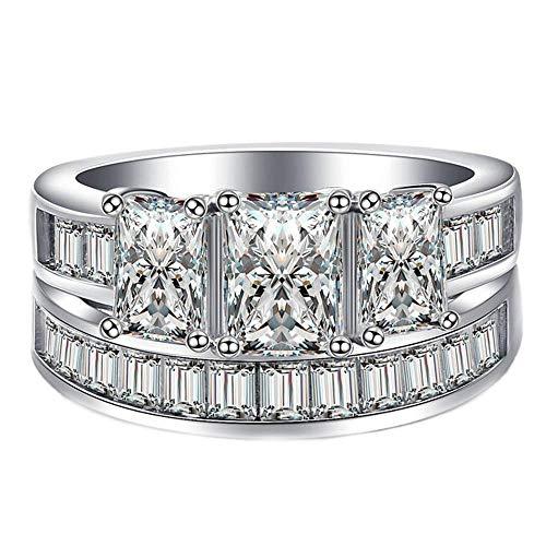Purmy Damen Ring Weißes Gold überzogen Weiß Cubic Zirconia Prinzessin Schnitt Rosa Zirconia Mode Stil Set Ringe Größe 62 (19.7) (Weiß Gold Prinzessin Schnitt Ring Set)