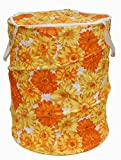 Winner Small Size Yellow And Red Floral Print Folding Laundry Bag To Organize Cloths
