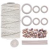 Quacoww - Cordón de macramé natural de 3 mm con 6 anillos de madera y 4 varillas de madera para colgar plantas, manualidades, tejer
