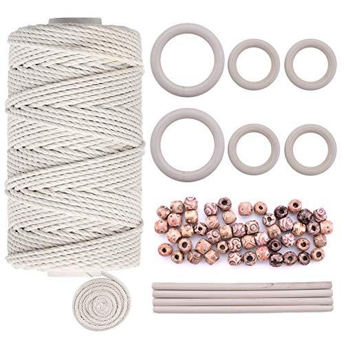 nur 3 mm mit 6 Holzringen und 4 Holzstäbchen für DIY Pflanzenaufhänger, Basteln, Stricken ()