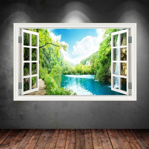 Completo Colore LAKE SPIAGGIA PARADISE muro art adesivi calcomania trasferimento Grafico Stampa - Grande - 100cm L x 70cm A - Paradise Gallerie
