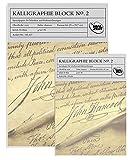 185436–2–Doble pack = 2x caligrafía bloque nº 2, 50hojas, 95g/m², tamaño A5, spitzenmässiges Real del producto.
