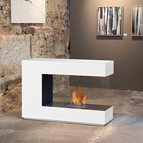 muenkel design loft.line -- C-02 Raumteiler Ethanol Kamin: Reinweiß - safetybox 3.0